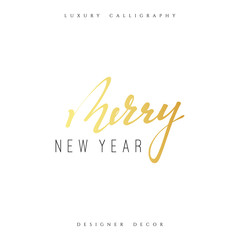 Merry new year lettering handmade calligraphy. Inscriptions for greeting card. Luxury calligraphy decor design element