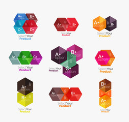 Set of business hexagon layouts with text and options