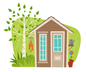 Cute Garden Shed - clip-art of a small garden shed with tree, wind chime, watering can and flower. Eps10