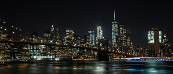 Brooklyn Bridge and New York City at night