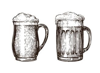Hand drawn beer mug. Elements for design menu restaurant or pub. Sketch vector illustration