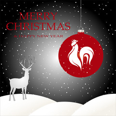 Christmas night card with white cock