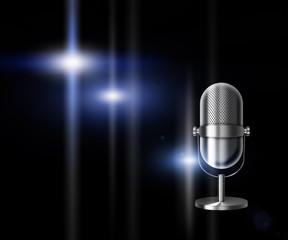 Vintage metal silver microphone on black background. 3D illustration.