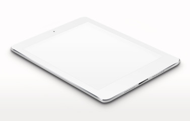 Realistic tablet computer with blank screen on gray background. 3D illustration.