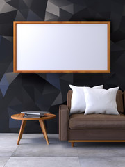 Modern loft interior with Mock up poster  ,living room, Brown leather armchair with wood coffee table on concrete floor and polygonal black wall ,3d render