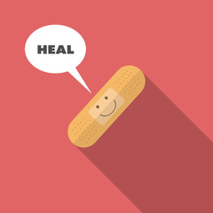 medical smiling face on bandage said heal flat design on red background.
