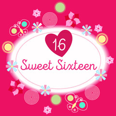sweet sixteen birthday poster or card design