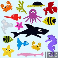 Set of marine inhabitants. Fish. Flat style. Children. Funny.