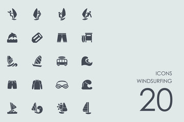 Set of windsurfing icons