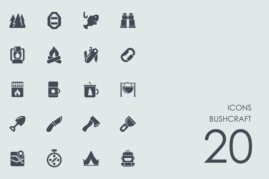 Set of bushcraft icons