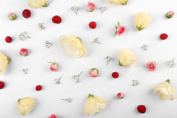 Tender pattern made of berries and small flowers