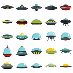 Alien spaceship, spacecrafts and ufo vector set