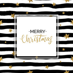 Merry Christmas card, xmas gold text on striped background with golden glitter star confetti, gold vector christmas lettering for holiday card, poster, banner, invitation, handwritten calligraphy