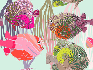 Seamless pattern colored fish