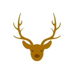 deer head horns vector illustration style Flat