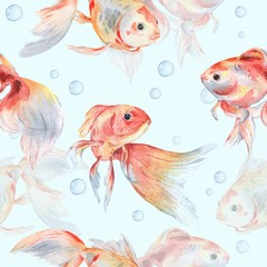 Seamless pattern with goldfish and bubbles 2. Watercolor painting. Handmade drawing.