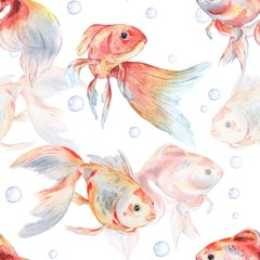 Seamless pattern with goldfish and bubbles 1. Watercolor painting. Handmade drawing.