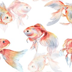 Seamless pattern with goldfish. Watercolor painting. Handmade drawing.