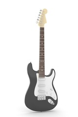 Isolated black electric guitar on white background.  Musical instrument for rock, blues, metal songs. 3D rendering.