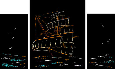 Sailing ship. Triptych