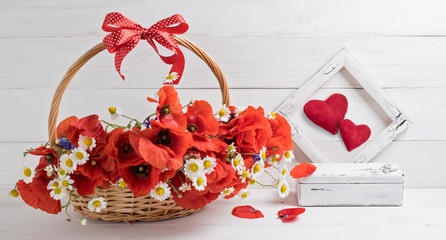 Card for Valentine Day with daisy flowers and poppies bouquet