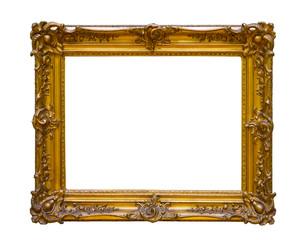 Vintage gold frame isolated on white background
