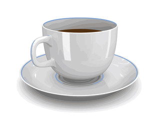 Image of cup with saucer. Image with clipping path