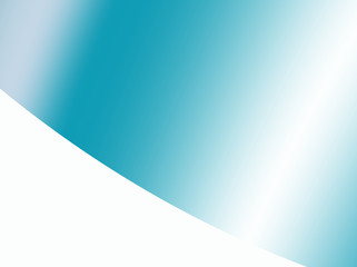 Teal abstract background with gradients giving it a metallic look, with a white corner divided by a curve. Text space. For marketing, layouts, leaflets, pamphlets, templates, PC or phone backgrounds.