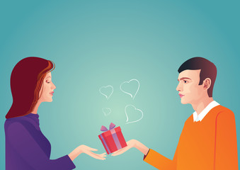 Romantic couple, love, relationship and dating concept. Man gives woman gift