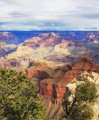 Excellent view of rock formation on the south rim of the Grand C