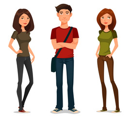 cartoon illustration of young people in casual outfit