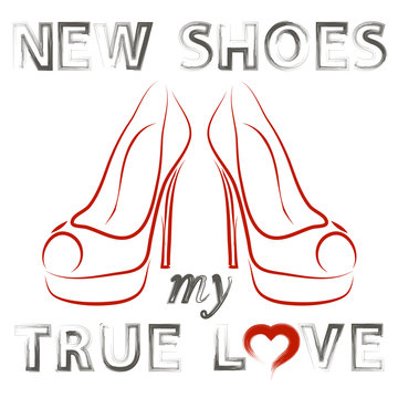 Grunge Hand Drawn Shoes Poster with Positive Quote. Silhouette of Modern Woman Shoes with Grunge Positive Words