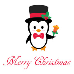 cute penguin with bell and text
