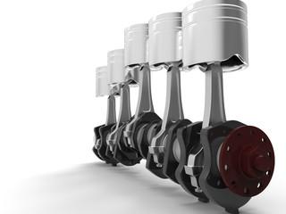 Pistons and crankshaft