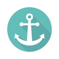 Anchor icon flat design with long shadow