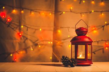 christmas tree light on wooden table.