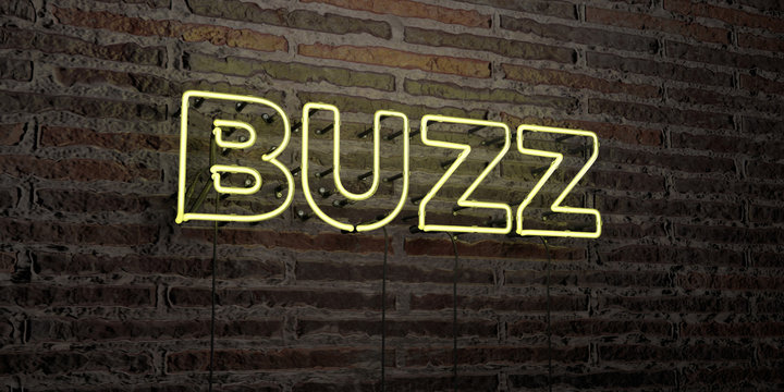 BUZZ -Realistic Neon Sign on Brick Wall background - 3D rendered royalty free stock image. Can be used for online banner ads and direct mailers..