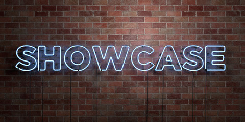 SHOWCASE - fluorescent Neon tube Sign on brickwork - Front view - 3D rendered royalty free stock picture. Can be used for online banner ads and direct mailers..