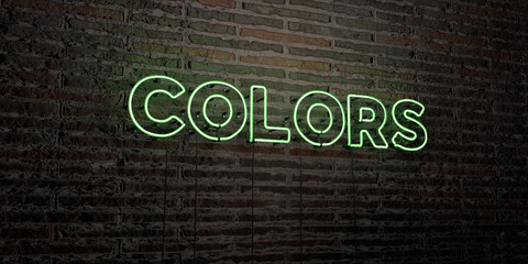 COLORS -Realistic Neon Sign on Brick Wall background - 3D rendered royalty free stock image. Can be used for online banner ads and direct mailers..