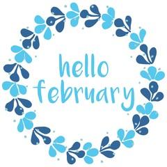 Hello february winter watercolor wreath vector card
