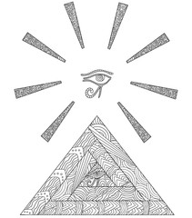 Doodle coloring book with the symbol of the Egyptian pyramids and the Eye of Horus in the center of triangle. From the eye of Horus diverging the rays of sun.