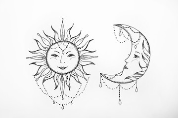 Sketch of the sun and moon white background.