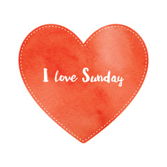 Love Sunday text on red watercolor heart