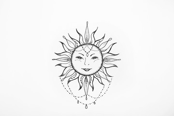 Sketch of the sun with a smile on white background.