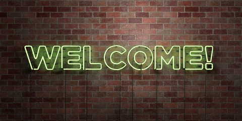 WELCOME! - fluorescent Neon tube Sign on brickwork - Front view - 3D rendered royalty free stock picture. Can be used for online banner ads and direct mailers..