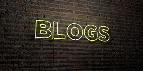 BLOGS -Realistic Neon Sign on Brick Wall background - 3D rendered royalty free stock image. Can be used for online banner ads and direct mailers..