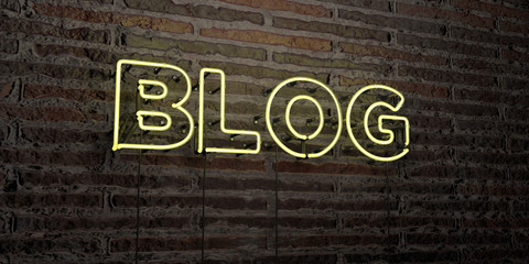 BLOG -Realistic Neon Sign on Brick Wall background - 3D rendered royalty free stock image. Can be used for online banner ads and direct mailers..
