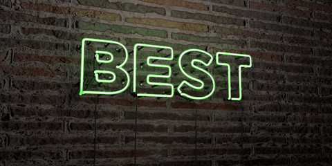 BEST -Realistic Neon Sign on Brick Wall background - 3D rendered royalty free stock image. Can be used for online banner ads and direct mailers..