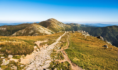 Low Tatras National Park Mountain Ridge with Hiking Trail in Slovakia. Way to Mount Dumbier.