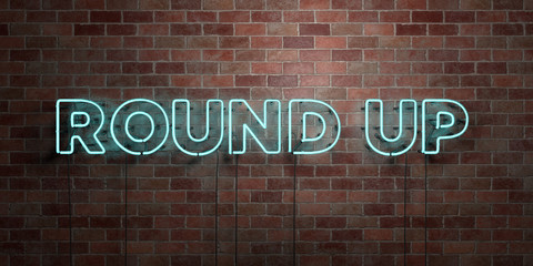 ROUND UP - fluorescent Neon tube Sign on brickwork - Front view - 3D rendered royalty free stock picture. Can be used for online banner ads and direct mailers..